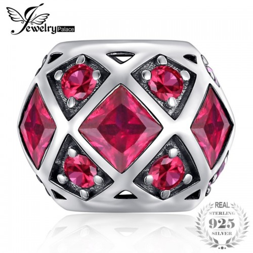 Sterling Silver Created Red Ruby Hexagonal Symmetric Charm Beads Fit Bracelets.jfif