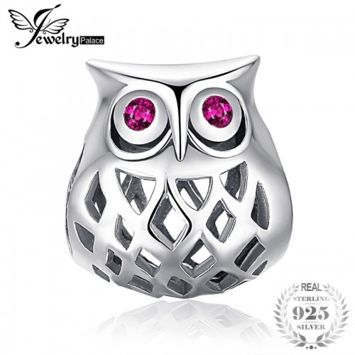 Sterling Silver Created Ruby Hollow Owl Charm Beads Fit Bracelets.jfif