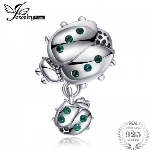 Sterling Silver Green Cubic Zirconia Mother And Child Ladybird Charm Beads Fit Bracelets.jfif