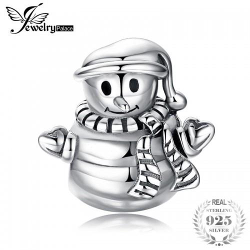 Sterling Silver Happy Winter Lovely Snowman Charm Beads Fit Bracelets.jfif