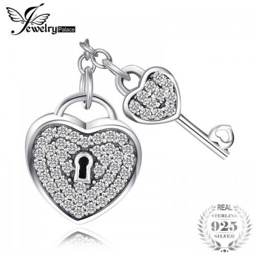 Sterling Silver Heart Lock Key Cubic Zirconia Beads Charms Fit Bracelets For Women.jfif