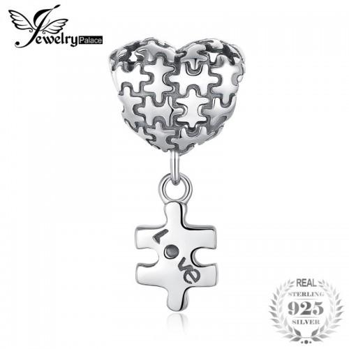 Sterling Silver Jigsaw Heart Puzzle Dangle Love Charm Fashion For Women.jfif