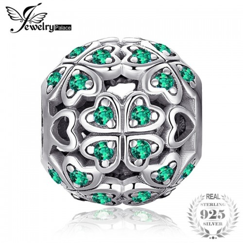 Sterling Silver Lucky Flora Round Green Cubic Zirconia Four Leaf Clover Heart Charm Beads.jfif