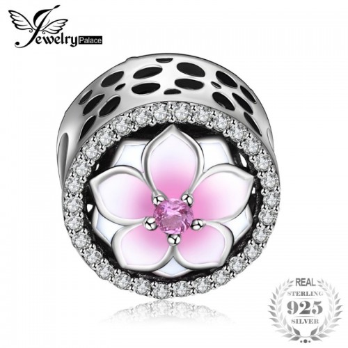 Sterling Silver Magnolia Blossom Pink Murano Glass Beads Charms Fit Bracelets.jfif