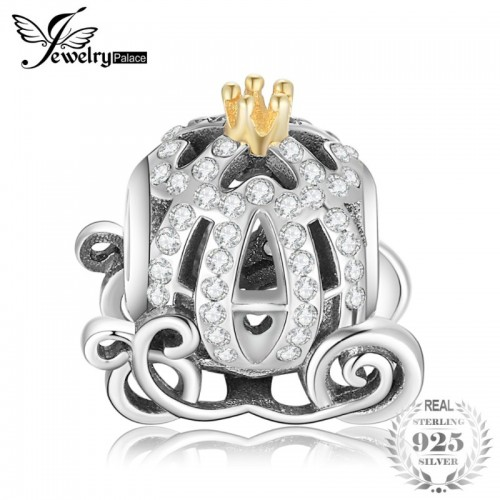 Sterling Silver Pumpkin Carriage Cubic Zirconia Gold Crown Beads Charms Fit Bracelets.jfif
