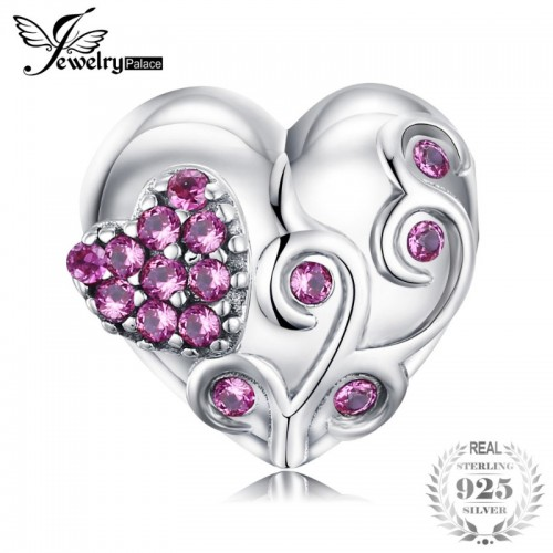Sterling Silver Round Created Ruby Always In My Heart Charm Beads Fit Bracelets.jfif