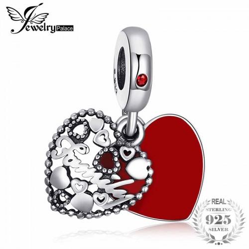 Sterling Silver Secret Admiration Red Enamel Beads Charms Fit Bracelets For Fashion.jfif