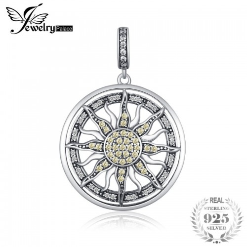Sterling Silver Yellow And White Cubic Zirconia Celestial Sun Pendant Charm Fit Bracelets.jfif