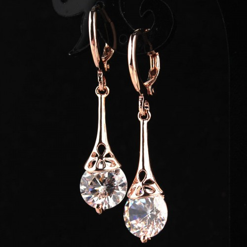 New Fashion Hot Women Girls Rose Gold color White CZ Stone Crystal Pierced Earrings