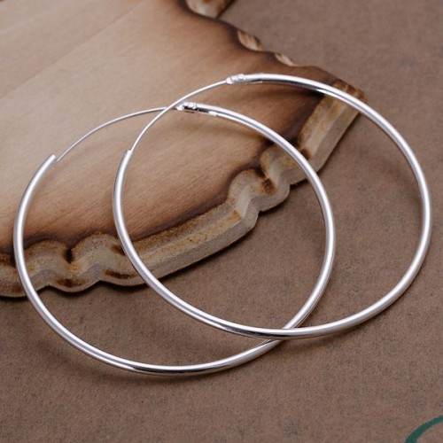 Wholesale High Quality Jewelry 925 jewelry silver plated Smooth Circle Earrings for Women best