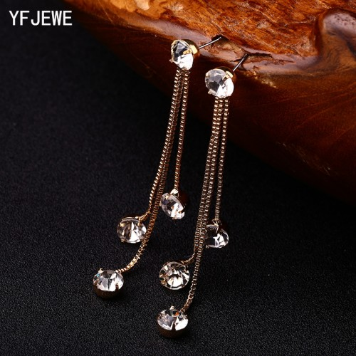 YFJEWE New Fashion Drop Rhinestone Earrings Brief Personality Tassel Long Design Sparkling Crystal Earrings Female Earrings