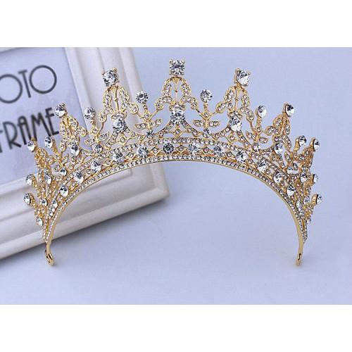 Golden with White Stones Luxury Crystal Tiara Crown Headband