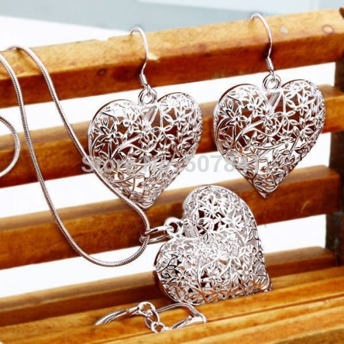 Silver plated jewelry fashion cute Pretty Heart Necklace Earring women party set