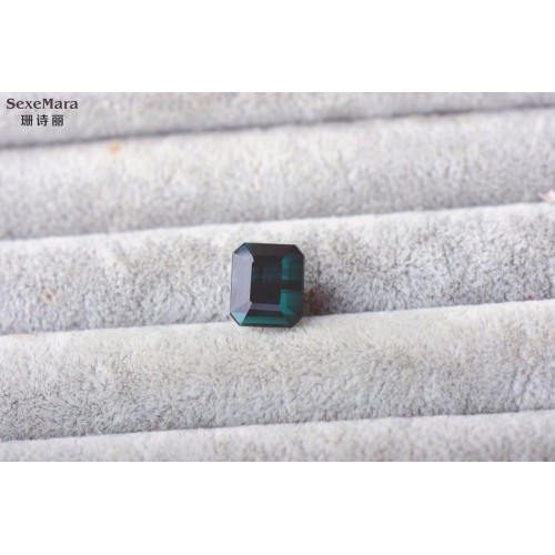 1 9 karat blue tourmaline bare Stone square Free shipping certificate Perfect scintillation ring surface