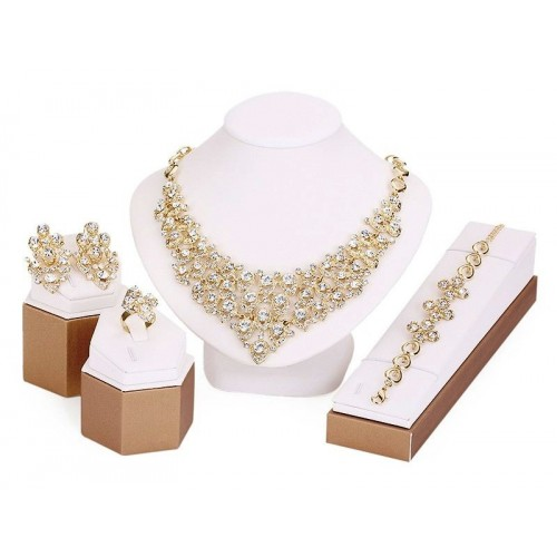 African Beads Gold Plated Crystal Jewelry Set