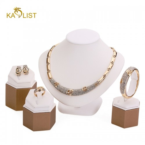 African Gold Plated Crystal Jewellery Set