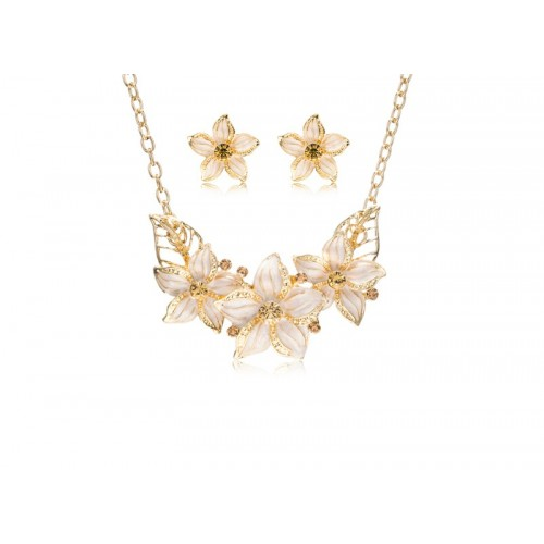 Fashion Jewelry Set Crystal Flower Necklace & Earrings Gold