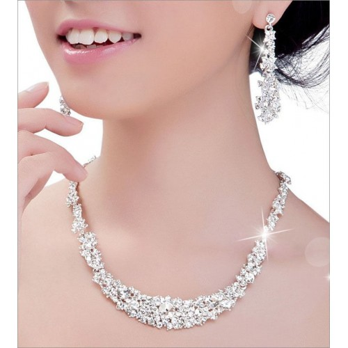 Fashion Rhinestone Necklace Crystal Earrings Charm Jewelry Set