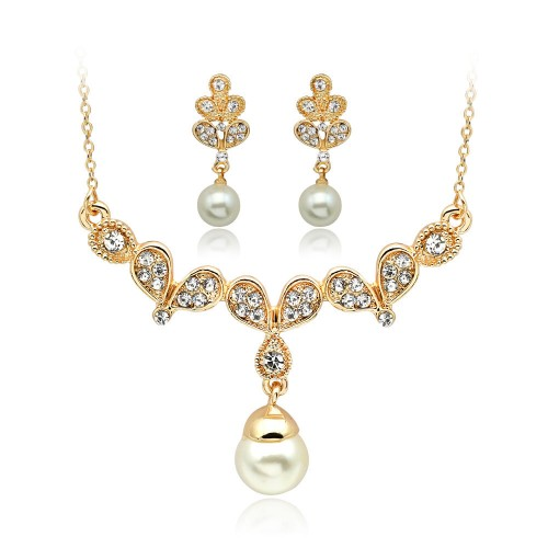 Pearls Rhinestones Alloy Necklace Earrings Jewellery Set