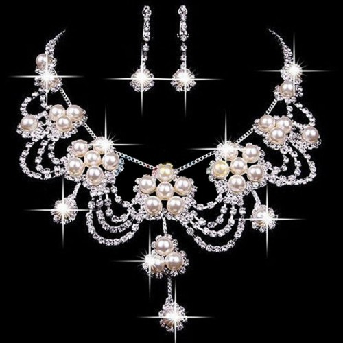 Rhinestone Crystal Pearl Necklace Earring Jewelry Set