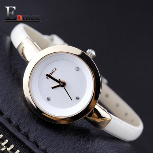 2017 Memorial gift Enmex women creative slim strap watch golden white graceful young girl elegant fashion