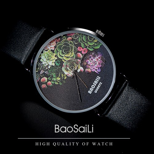 Floral Design Black Case Japan PC21 Movt Water Resistant Life Watch Women Relogio Feminino