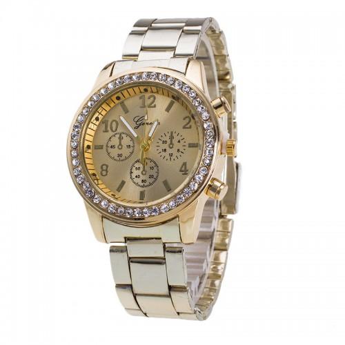High Quality Geneva Brand Full Steel Watch Women Ladies Men Fashion Crystal Dress Quartz Wrist Watch