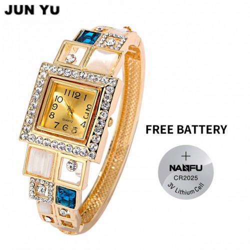 JUNYU 2017 18K Gold Women Luxury Crystal Square Quartz Watches Wrist Watchr Oval Created Opal Cuff.jpg 640x640