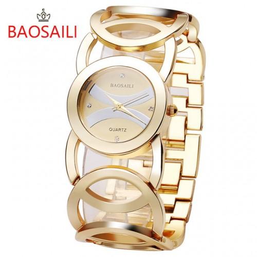 JW089 BAOSAILI Brand Imitation Gold Plated Circles Strap Stainless Steel Back Shinning Women Watches Fashion Wrist.jpg 640x640