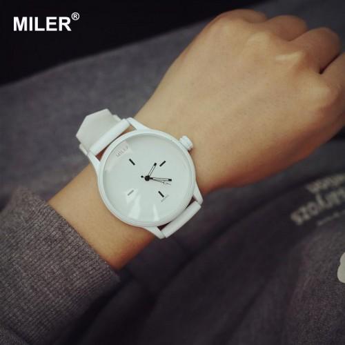 Original MILER Brand Soft Silicone Strap Jelly Quartz Watch Wristwatches for Women Ladies Lovers Black White