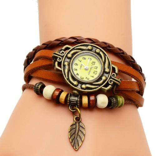 Ouriner Fashion Watch Hot Selling Women Leather Bracelet Watch Women Dress Watches leaf Vintage WristWatch No