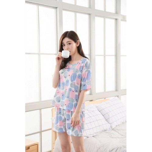 Women Pure Cotton 2 Piece Printed Short Set 12