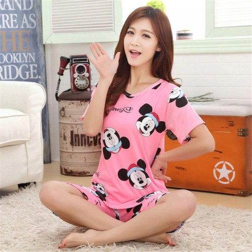 Short Sleeve Thin Cotton Cartoon Print Loose Sleepwear For Girl