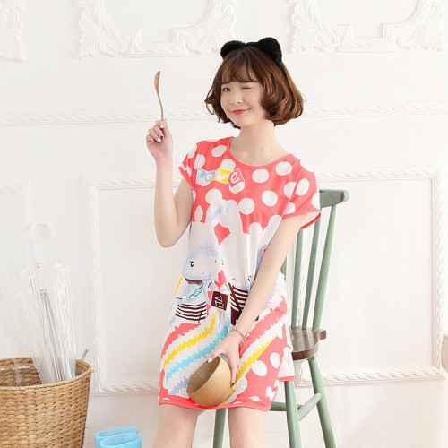 Printed Sleepwear Short Sleeve Long T Shirt (4)