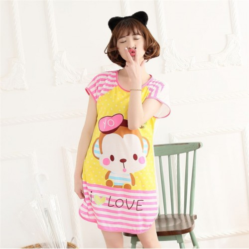 Printed Sleepwear Short Sleeve Long T Shirt (5)