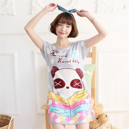Printed Sleepwear Short Sleeve Long T Shirt (7)