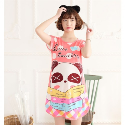 Printed Sleepwear Short Sleeve Long T Shirt (8)