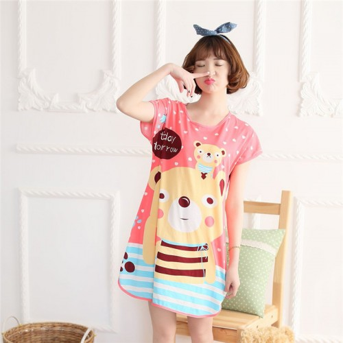 Printed Sleepwear Short Sleeve Long T Shirt (9)