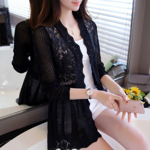female spring and autumn lace cutout thin sweater cardigan cape outerwear medium long
