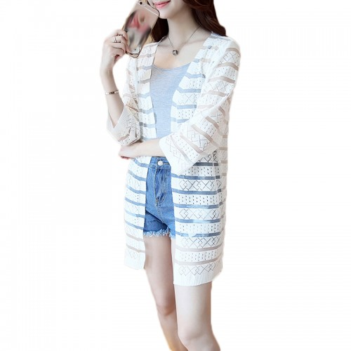 15 Colors Women Casual Striped Crochet Summer Hollow Out Spring Knitted Cardigan Rebecas Mujer Ladies Beach