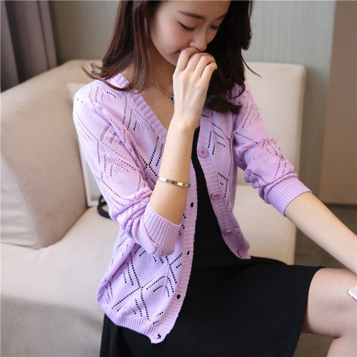 18 new women s Korean long sleeved knit cardigan collar hollow V simple air conditioning shirt