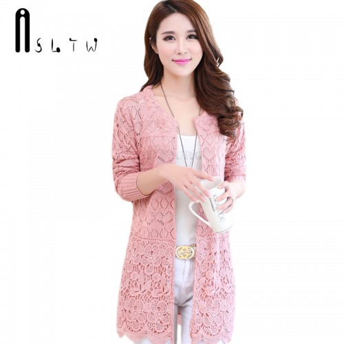 ASLTW Spring And Autumn Female Cardigan Long Sleeve Hollow Lace Knitwear Long Cardigan Coat Sweater For