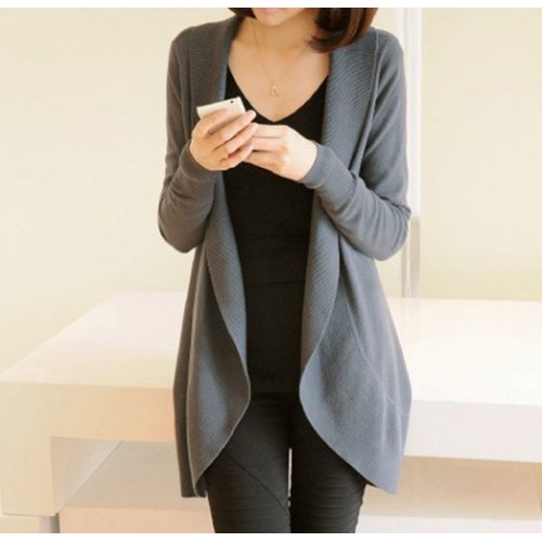 Autumn Winter New Women Long Sleeve Knitted Sweater Casual Solid Scarf Collar Cardigans Sweaters