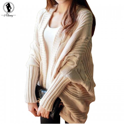 Autumn winter fashion new style sweater women bat sleeve loose stripe knitted cardigan sweater poncho