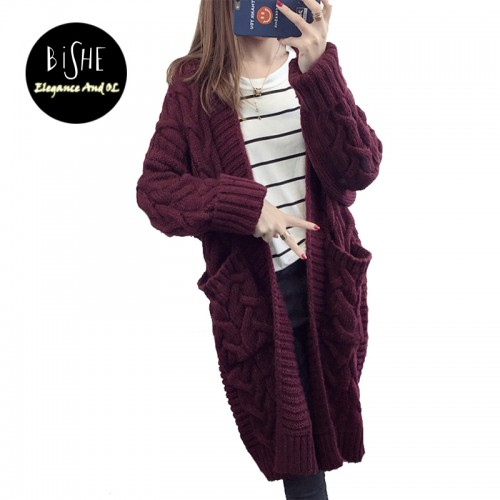 BiSHE Long Cardigan Female Autumn Long Sleeve Plus Size Solid Cardigan Women Sweater Pockets Women