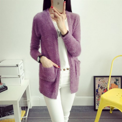Candy Colors Mohair Knitted Sweater Long Sleeve Autumn Winter Women Cardigans Fashion Top Femme Manche