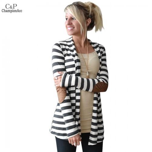 FANALA Women Striped Cardigan Female Cardigans Sweaters Turndown Neck Patch on Long SLeeve Women Knitting Sweater