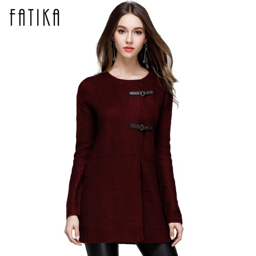 FATIKA Autumn Winter New Fashion Women Knitwear Long Solid Color Button Cardigans O Neck