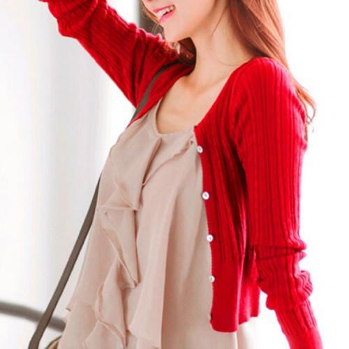 Free shipping New women s Korean autumn sweater cardigan Women Slim waist round neck short