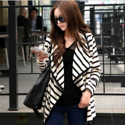 GZDL Spring Autumn Women Outwear Thin Sweater Coat Long Sleeve Striped Lapel Casual Loose Open Stitch